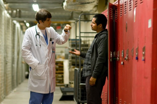 Orlando Bloom and Micheal Pena in The Good Doctor
